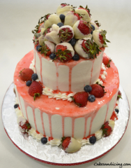 30th Birthday Strawberry Drip Cake With Freshstrawberriesdippedinwhitechocolatechocolate
