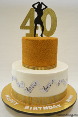40th Birthday Dancing Silhouette Theme Cake