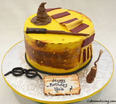 A Wizarding Cake Of Harry Potter Theme Cake #harrypottercake #gryffindor #quidditch #harrypotterwand #sortinghat 01