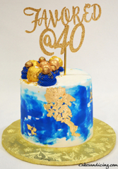 Age Is Just A Number !! Happy 40th Birthday #helloforty #favoredat40 #royalblueandgold #ediblegoldleaves #ferrerorocher #goldlustre #goldlustredust #goldpolkadots 01