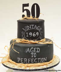 Aged To Perfection , Happy 50th Birthday Theme Cake #agedtoperfectioncake #vintagecake #matteraffia #fiftythbirthdaycake #blackfondantcake #freehandwriting 01