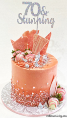 Amazing Rose Gold And Silver Cake #rosegoldbuttercream #rosegoldandsilvercake #silverchocolates #rosegoldchocolates #hersheykisses #whitechocolatecoveredstrawberries 01