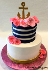 Anchor N Roses Theme Cake