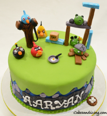Angry Birds Kids Bday Theme Cake With Redangrybird Chuckangrybird Angrybirdspigs Angrybirdsblues Bombangrybird 01