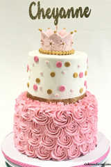 Baby Shower Lil Princess Theme Cake #fondantcrown #fondantpolkadots #strawberrycake #whitecake 01