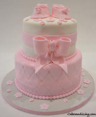 Baby Shower Theme Cake Forgirls Pinkfondantbow Babybooties Redvelvetcake