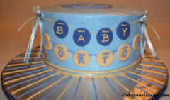 Baby Shower Fondant Coin Name Theme Cake 11