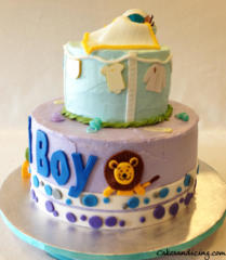 Baby Shower Oh Boy Lion Bassinet Theme Cake 08