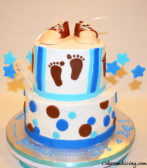 Baby Shower Polka Dots Baby Feet Converse Shoes Theme Cake 14