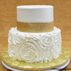 Birthday Cake Roses Icing Golden Lace
