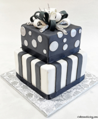 Black White And Silver ,classic Stripes And Polka Dots Cake With Handmade Fondant Bow !! #polkadots #polkadotcake #fondantcake #fondantstripes #squaretieredcakes 01