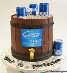Bud Light Beer Barrel Theme Cake #budlightthemecake #beerbarrelcake #icecandies #fondantgoldtap #agedtoperfection
