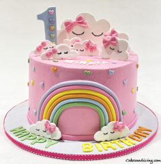 Clouds And Rainbow Theme Cake #clouds #cloudscake #rainbowcake #firstbirthday #girlbirthdaycake #hearts 01