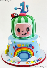 Coco Melon And Rainbow Birthday Cake ! #cocomelon #cocomeloncake #rainbow #rainbowcake #firstbirthdaycake #birthdayboy #happybirthday #melonface 01