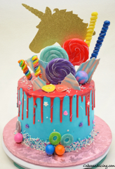 Colorful Drip Candies And Unicorn Theme Cake #goldunicorntopper #candiesandlollipops #gummies #candymelts #candyballs #nutellaandchocolatebuttercream #unicorncakes