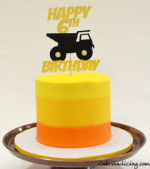 Construction Theme And Construction Colors Theme Cake #construction Truck #orangeyellowombrecolors 01