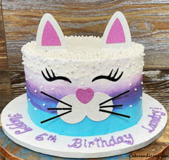 Cute As Kitty Cat Cake !!! Little Girls Another Favorite! #catcake #kitty #kittycake #tealvioletandpurpleombrebuttercream #kittycatcake #birthdaycakeforgirls 01