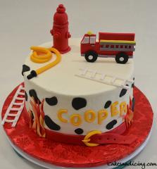 Dalmatian Spots And Red Fire Truck Theme Cake #firetruckbabyshowercake #strawberrycake