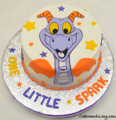 Disney Epcot Mascot Theme Cake #onelittlespark #disneyepcotmascot #disneyfigment #disneyfigmentmascotcake #purpleandorangedinosaurs