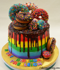 Donuts Drip Cake With Chocolate Rainbow Ganache Drip Icing Theme Cake