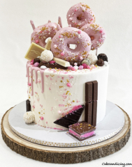 Donuts Drip And Sprinkle Cake #donutcake #chocolate #sprinkles #candymelts #whitechocolatedripcake #donuts 03