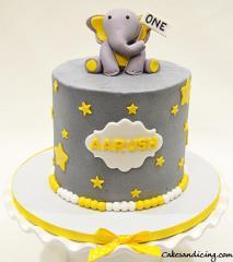 First Birthday Baby Elephant Cake #firstbirthdaycake #fondantbabyelephant #stars #starcake #babyboycake #twinsbaby #twinsbabycake #twins 01