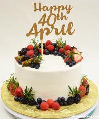 Fresh Berries And Rosemary Cake #freshberriescake #rosemarycake #goldtopper #40thbirthdaycake