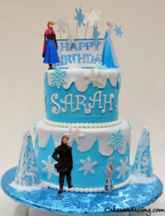 Frozen Movie Theme Cake #frozenthemecakes #frondantsnowflakes #frozentree