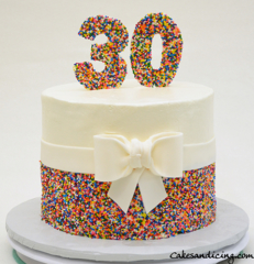 Funfetti Cake #rainbowsprinkles #chocolatechipcake #fondantbow #whitechocolatethirty #30thbirthdaycake