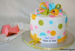 Gender Reveal Polka Dots Theme Cake 02
