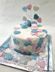 Gender Reveal He Or She Open To See Pinkandbluehearts Theme Cake
