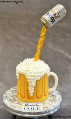 Gravity Beer Mug Cake #gravitydefyingcake #beercake #beermugcake #modelo#modelobeer #21stbirthday #21stbirthdaycake 01