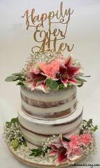 Happily Ever After Wedding Cake #happilyeverafter #weddingcake #seminakedcake #egglesscake #freshfowers #seminakedweddingcake 01