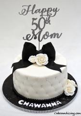 Happy 50th Bday Theme Cake #bigbow # Fondantflowers