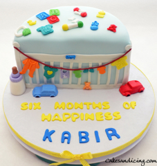 Happy Six Month Birthday #halfbirthdaycake #babytoys #babyclothes #fondantbabyclothes #babycribcake #cutenessoverload #sixmonthbirthdaycake 01