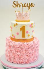 Happy Birthday Princess Shreya. #firstbirthdaycake #princessbirthdaycake #pinkrosettescake #pinkandgoldpolkadotscake 01