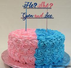 He She Open And See Gender Reveal Theme Cake#strawberrycake#pinkandbluerosettes