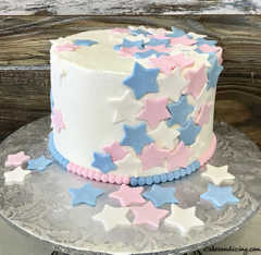 He Or She, Open To See! #pinkandbluehearts #genderrevealcake 01