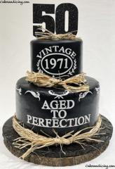 Hello 50 !! Vintage, Made In 1971 #happy50thbirthday #agedtoperfection #vintagecake #madein1971 #rusticcake #sugarsheet #cricutmade #hellofifty #haystraws #caketopper 01