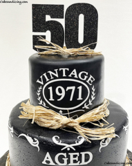 Hello 50 !! Vintage, Made In 1971 #happy50thbirthday #agedtoperfection #vintagecake #madein1971 #rusticcake #sugarsheet #cricutmade #hellofifty #haystraws #caketopper 02