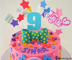 Jojo Siwa Theme Cake #jojosiwacake #jojosiwaparty #vanillaegglesscake #dreamcrazybigbow #bigbows #stars #eatsleepanddance #girlygirlcake #pinkcake 02