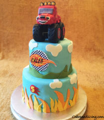 Kids Bday Blaze And Monster Machine Theme Cake