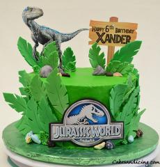 Kids Bday Jurassic World Theme Cake #jurassicworldcake #fondantpalmleaves #i Rex
