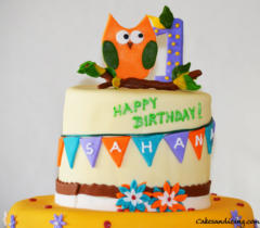 Kids Bday Owl Theme Cake 01