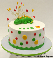 Kids Birthday Cake #kidsbirthdaycake #stars #polkadots #babydinosaur #babydino #chocolatechipcake