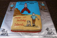 Kids Bday Tin Tin Destination Moon Theme Cake 01
