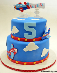 Kids Bday Airplane Clouds Theme Cake