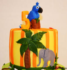 Kids Bday Jungle And Rio Theme Cake 02