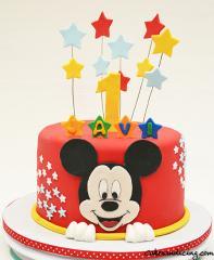 Mickey Mouse Cake And Smash Cake #mickeymousethemecake #smashcake #firstbirthdaycake #stars #mickeymousemagic #fondantmickeyface 02