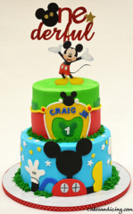 Mickey Mouse Club House Theme Cake #disneycakes #disney #mickeymouseclubhouse #disneybirthday #disneybirthdaycake #funtimes #oneyearold #onederful